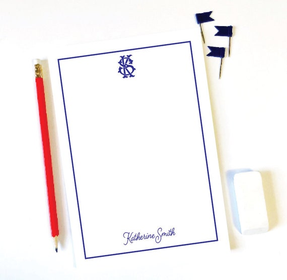 Monogrammed notepad, Personalized notepad, Vintage monogram, Custom notepad, Personalized gift idea, Monogrammed stationery, Cute notepad