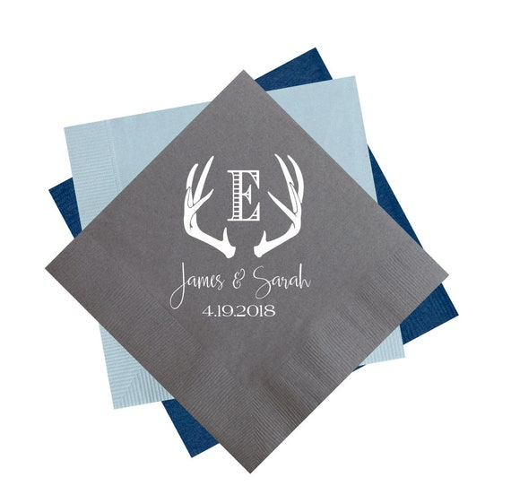 antler napkins, wedding reception napkins, rustic wedding napkins, personalized napkins, custom napkins, personalized cocktail napkins