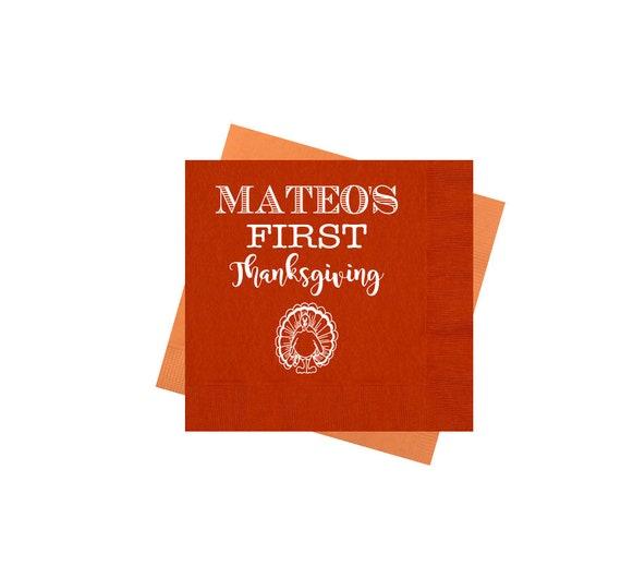 Thanksgiving napkins, First Thanksgiving, Personalized napkins, holiday napkins, Holiday napkins, Turkey napkins, Gobble gobble napkins