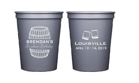 Bourbon birthday party, Bourbon cups, Whiskey birthday party, Bourbon theme party, Personalized party cups, Personalized birthday cups