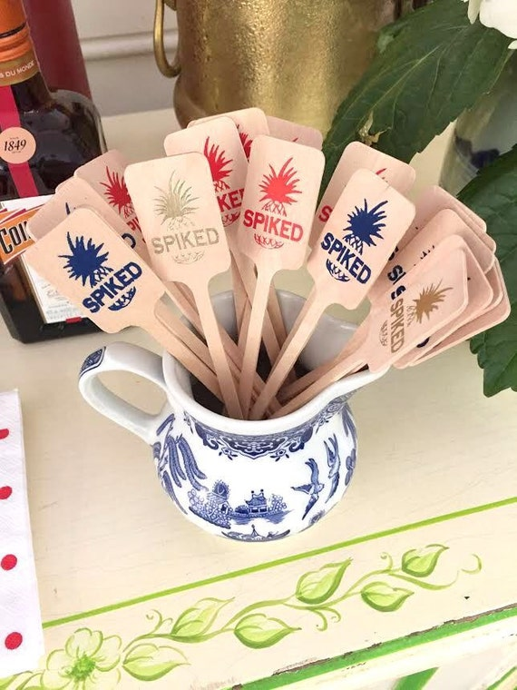 Pineapple drink stirrers , personalized wood drink stirrer, stirrer stick, custom stirrers, party drink stirrers, wedding stirrer