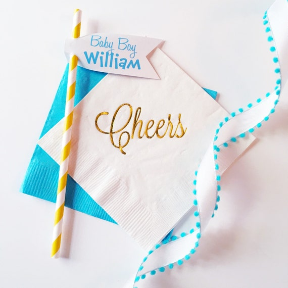 Baby shower, baby shower napkins, party straws, striped straws, paper straw