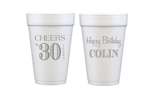 Cheers to 30 years birthday cups, Guys birthday party cups, 30th birthday party cups, Personalized birthday cups, Custom 30th birthday cups
