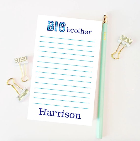 Big brother gift idea, Big brother notepad, Big brother stationery, Kids notepad, Personalized notepad, New sibling gift, Custom notepad