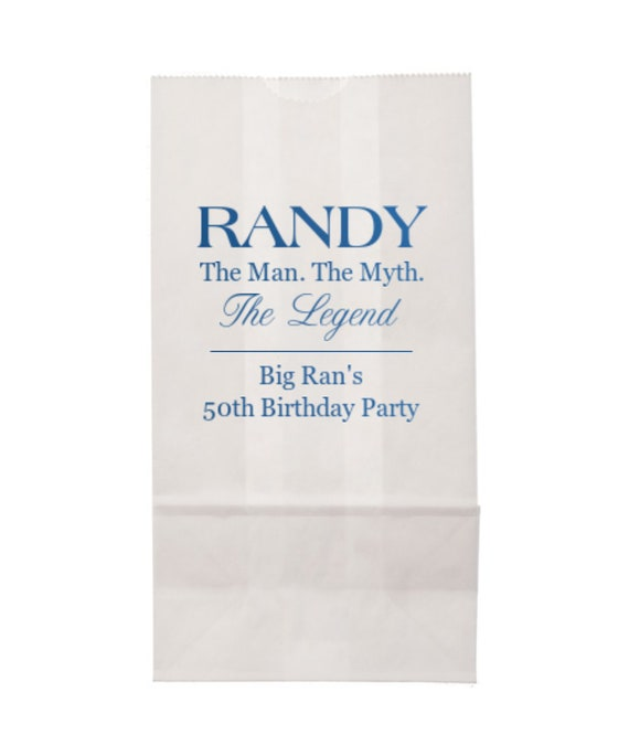Birthday party goodie bag, Party bag, personalized paper bag, party favor bag, Adult birthday party favor, 50th birthday party, custom bag