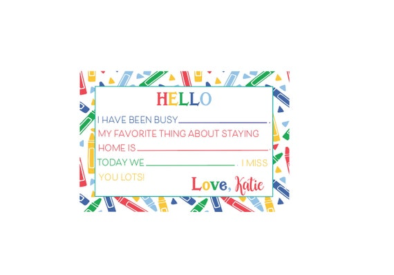 Kids fill in the blank stationery, Social distancing cards, Kids stationery, Kids notecards, Quarantine Cards, Kids fill in the blank note