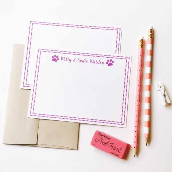 Dog notecards, Pet stationery, dog stationery, paw print note cards, Personalized stationery, dog lover gift, fur babies, puppy cards