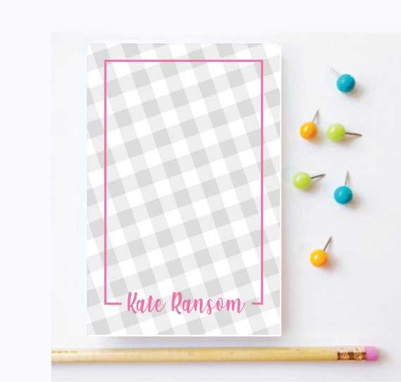 gingham notepad, personalized notepad, personalized stationery, plaid notepad, teacher gift idea, cute notepad, buffalo check notepad