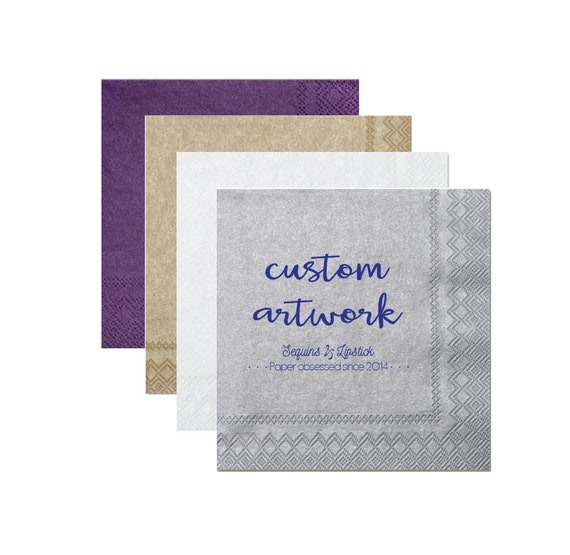custom artwork cocktail napkins, luxe party napkins, custom reception napkins, personalized wedding napkins, shimmer napkins, shimmery paper