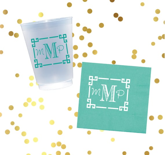 Personalized plastic cup, monogrammed napkins, house warming gift, reception napkins, frost flex cups, personalized cups, monogram napkins