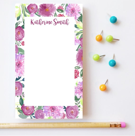 Floral notepad, Monogrammed notepad, Personalized notepad, Custom floral notepad, Customizable notepad, Floral desk decor, Mothers day gift