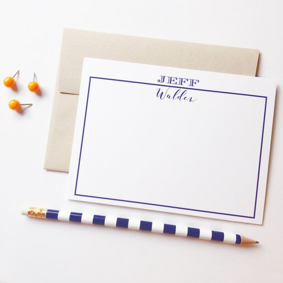 Personalized notecards, Personalized stationery set for men, flat notecards,   Guys stationery, paper goods, navy note cards, thank you note