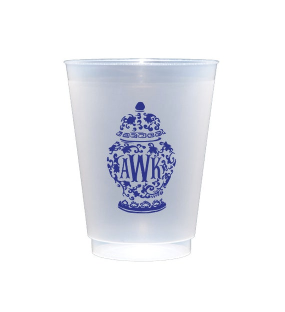 Ginger jar cups, Monogrammed shatterproof cups, Fishtail monogram cups, Blue and white ginger jar cups, Personalized plastic cups