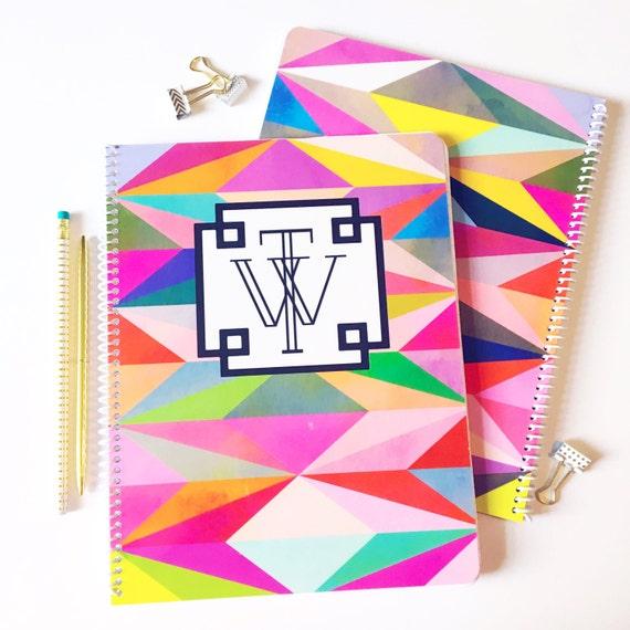 Monogrammed notebook, monogrammed spiral notebook, personalized notebook, custom notebook, teacher gift idea, graduation gift idea