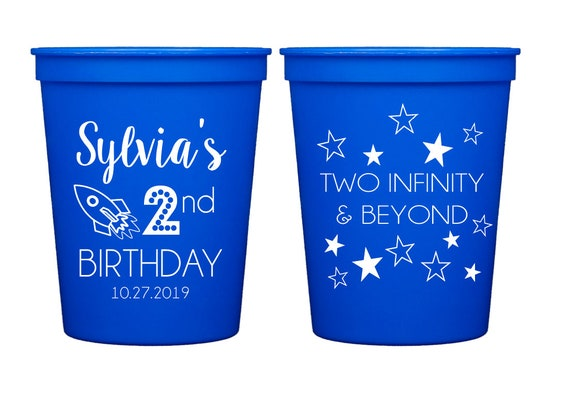 Two infinity and beyond birthday cups, Second birthday party cups, Kids birthday party cups, Outer space theme birthday cups, Rocket theme