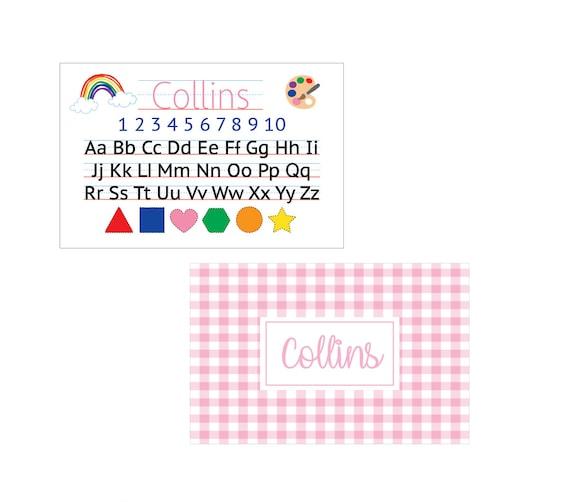 Personalized placemat, Alphabet placemat, Gingham placemat, Kids Placemat, Customized Placemats for kids, Personalized gift for kids