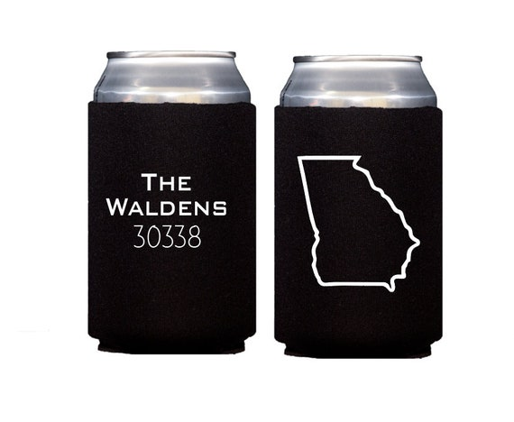 State pride can cooler, Zip code can cooler, State outline can cooler, State of Georgia hugger, Personalized hugger, Personalized can cooler