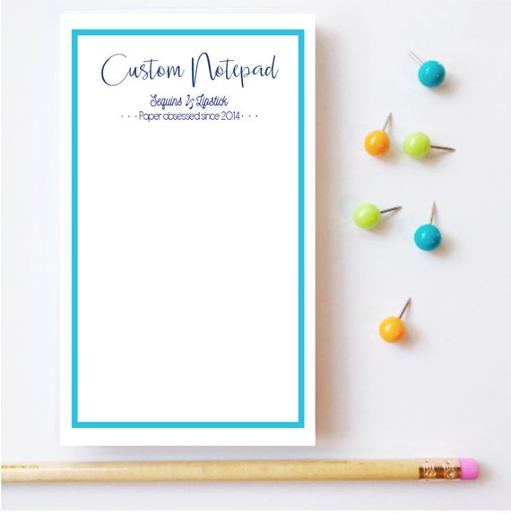 Custom notepad, Monogrammed notepad, Personalized notepad, Customized notepad