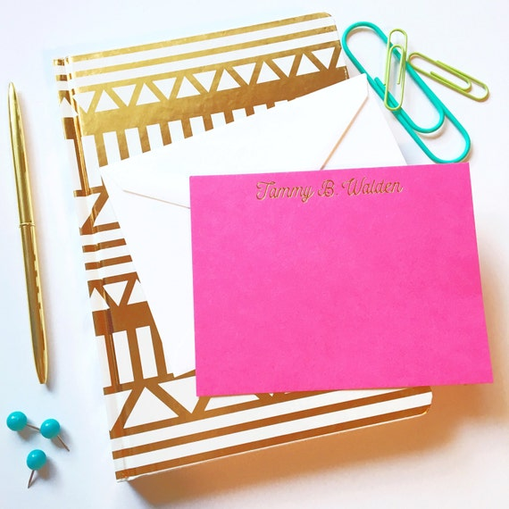 gold foil notecards, monogrammed stationery set, wedding stationery, thank you notecard set, personalized stationery, custom flat notecards