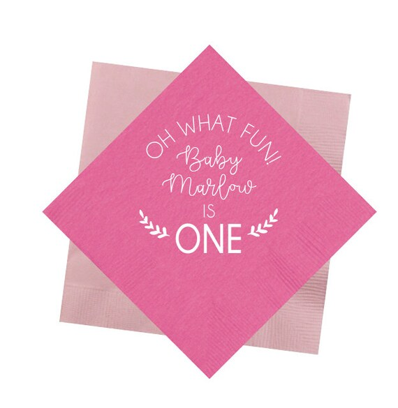 First birthday napkins, Oh what fun napkins, First birthday party napkins, Personalized napkin, Baby girl birthday party decor, Foil stamped