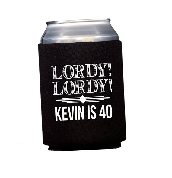 birthday can cooler, birthday party favor, 40th birthday hugger, masculine birthday party, adult birthday party favor, personalized cooler