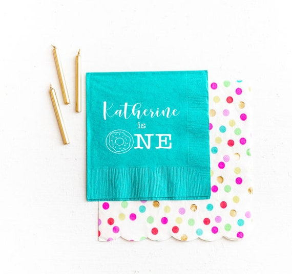 Donut napkins, Donut birthday party napkins, Personalized napkins, First birthday napkins, Donut theme party, Kids party favor, sweet one