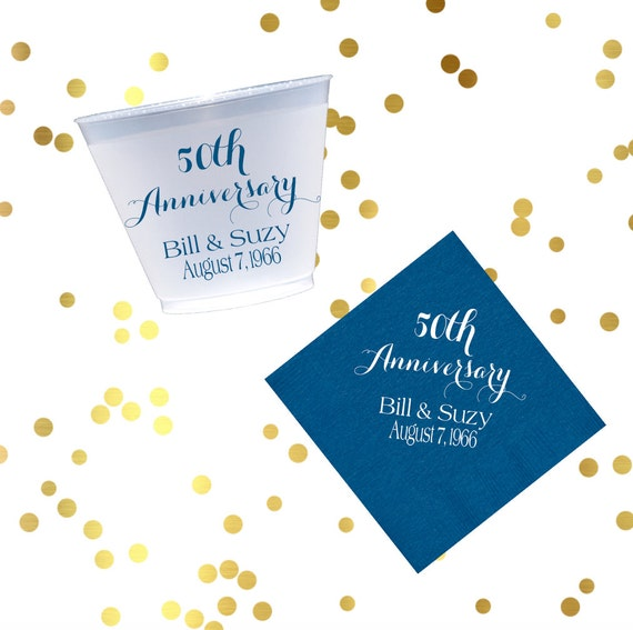 anniversary shatterproof cup, anniversary napkins, party cups, personalized napkins, frost flex cups, bar cart napkins, personalized cups