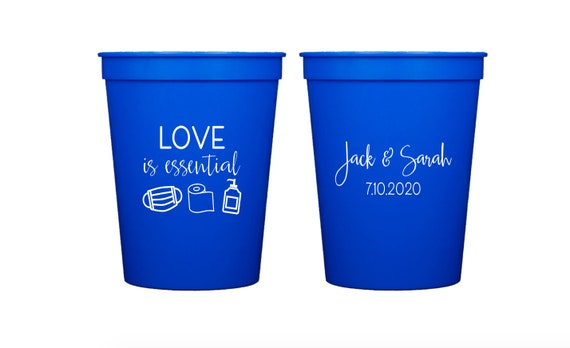 Quarantine wedding, Social distancing wedding, Rescheduled wedding, Postponed wedding, Personalized plastic cups, Personalized wedding cups