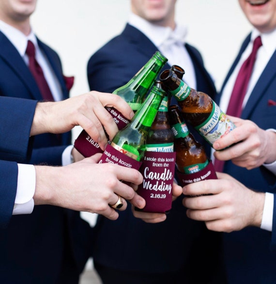 Wedding can cooler, Wedding drink sleeve, Wedding favor, Wedding shower favor, Personalized drink sleeve, Peronsalized can cooler
