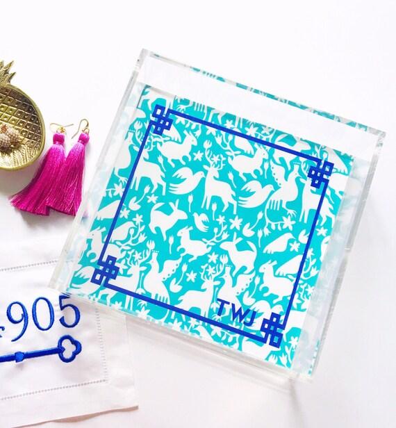 Monogrammed tray, Otomi tray, acrylic serving tray, bar cart tray, chinoiserie tray, jewelry organizer, mothers day gift idea, greek key