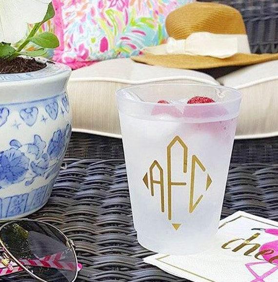 Diamond monogram shatterproof cups