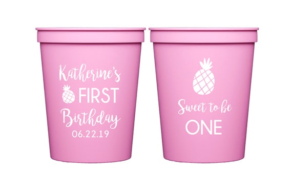 Pineapple birthday party cups, Sweet to be one, First birthday cups, Fruity first birthday, Tropical theme birthday, Personalized cups