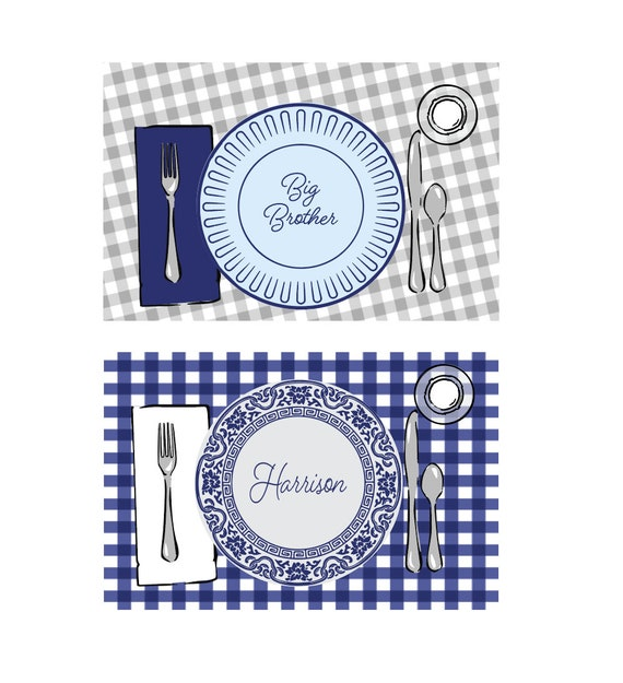 Big brother placemat, Personalized placemat, Laminated placemat, Gingham placemat, Kids placement, Big brother gift idea, New addition gift