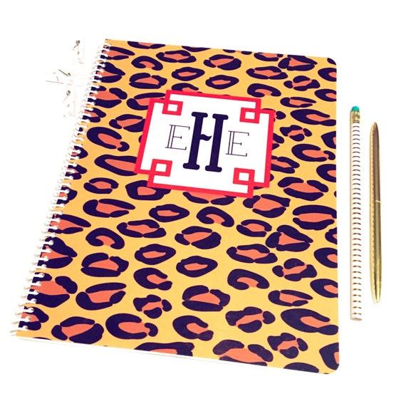 Leopard print notebook, monogrammed notebook, spiral notebook, cheetah print stationery, personalized notebook, animal print notebook