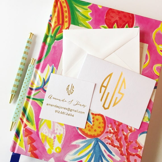 monogrammed stationery set, foil stamped monogrammed notecards, calling card set, personalized stationery, personalized folded notecards