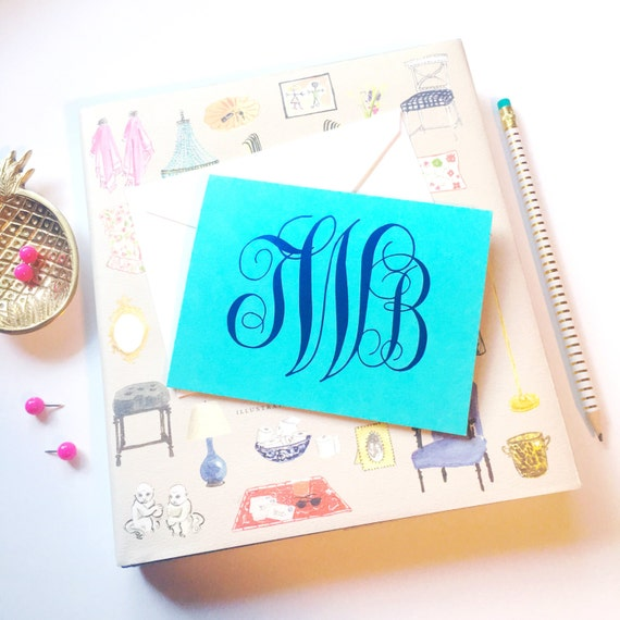 Monogrammed stationery, Monogram stationery, Foil stamped stationery, Script monogram notecards, Gold foil stationery, Wedding stationery