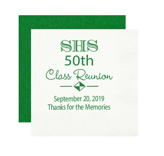 High school reunion napkins, class reunion napkins, personalized napkins, high school graduation party, reunion napkins, 50th reunion
