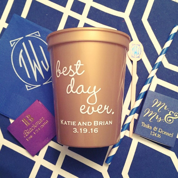 Best day ever personalized plastic cup, Wedding reception cups, Personalized plastic cups, engagement party, wedding shower favor