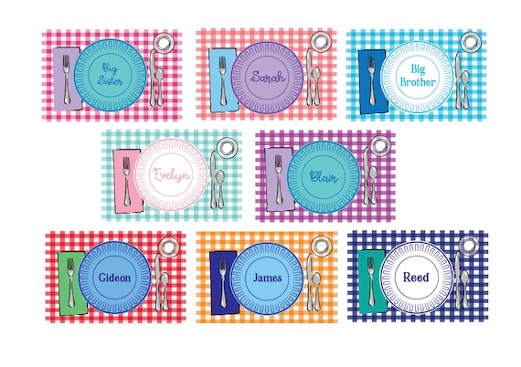 Laminated placemat, Gingham placemat, Kids Placemat, Personalized placemat, Customized Placemats for kids, Personalized gift for kids