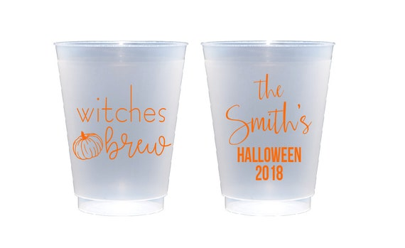 Halloween party cup, Witches brew cups, Halloween cups, Pumpkin cup, Personalized cups, Custom party cups, Shatterproof cups, Frosted cups