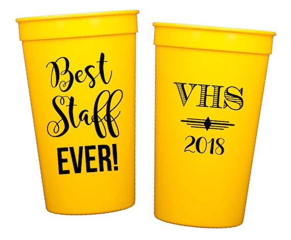Staff Appreciation Cups Teacher Appreciation Cups High School Graduation Cups Teacher of the Year Celebration Personalized plastic cups