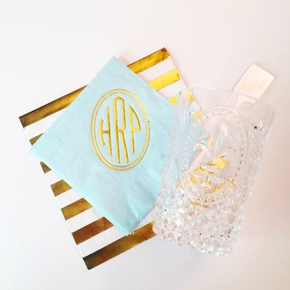 Monogrammed cocktail napkin, monogrammed napkins, foil stamped napkins, personalized napkins, gold foil napkins, hostess gift idea