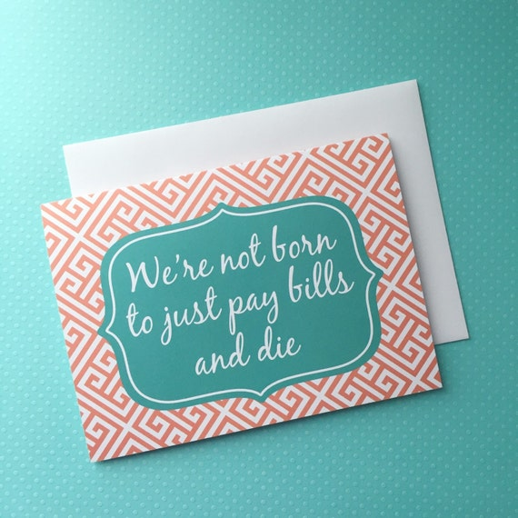 SALE just for fun greeting card, Funny greeting card, fun card, fun snail mail, happy mail, long distance best friend, live a little quote