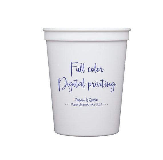 Full color printing, Digital full color stadium cups, Full color logo printing, Watercolor artwork printing, Personalized plastic cups