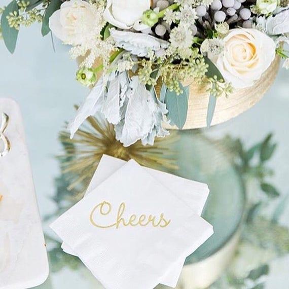 Cheers napkins, foil stamped napkins, cocktail napkins, cute cocktail napkins, cheers beverage napkins, bar cart decor