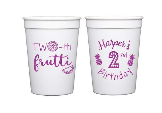 Twotti frutti birthday cups, Two tii fruity birthday cups, Fruit birthday party, second birthday party cups, kids birthday cups, fruit theme