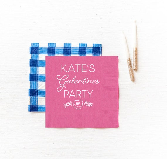 Galentines napkins, Galentines party, Valentines napkins, Valentines party napkins, Personalized napkins, Candy heart napkin, paper napkins
