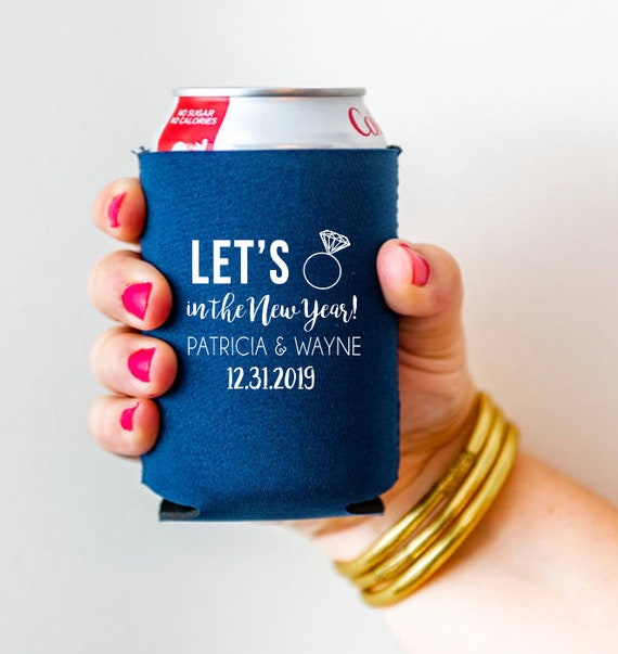New Years Eve wedding can cooler, New Years Eve wedding hugger, New Years eve wedding can cooler, Ring in the new year engagement
