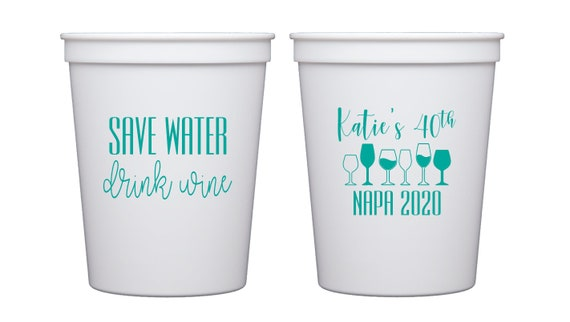 40th birthday cups, Napa birthday, Personalized birthday cups, Winer lover birthday, Wine lover gift, Napa girls trip, Adult birthday cups