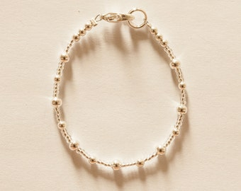 Slim and Dainty Silver Bracelet - Silver or pink